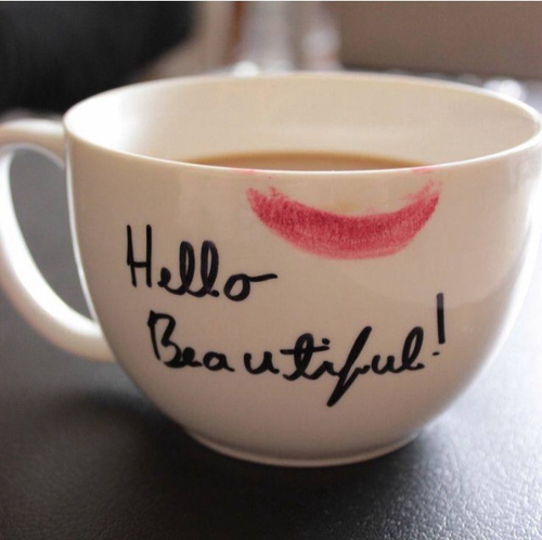 hello beautiful, teacup, coffee, lip stain