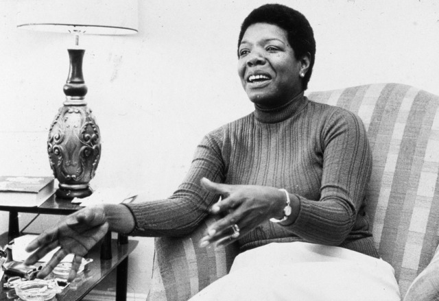 Maya Angelou gestures while speaking in a chair during an interview at her home on April 8th 1978.