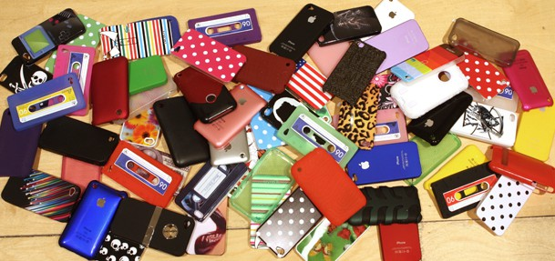 a pile of phone cases